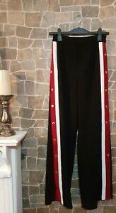 "Zara Women's Side Snap Button Black Red Trousers Sz Small Fits UK 10 Leg 33""inch"