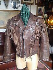 Vintage 1980's Glam Calfskin Leather Western Fringed Motorcycle Jacket .Med-Lge