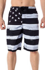 American Flag USA Board Shorts Old Glory BLACK Mens Swim Trunks Patriotic S-4XL