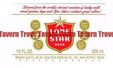 Unused 1970s TEXAS San Antonio LONE STAR BEER Short 12oz Label