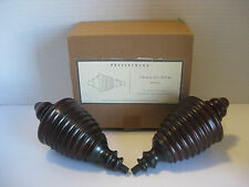 nib pottery barn set of 2 library urn wood finial aged bronze curtain rod end