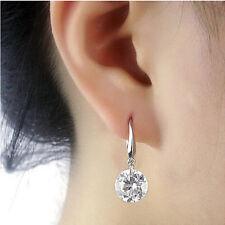 Elegant Round Cut CZ Drop/Dangle Hook Earring Women's 925 Silver Jewellery