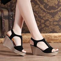 Brand New Women Fashion Casual Zipper Wedge Heel Sandals Peep-toe Pump Shoes