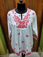 Ethnique 100/% coton chemisier S Chikan Embroidery Haut Tunique Kurta Handmade Kurti
