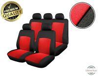 6 PCS FULL RED BLACK FABRIC CAR SEAT COVERS SET FOR NISSAN JUKE PRIMERA ALMERA