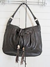 FURLA ITALIAN DARK BROWN PEBBLED LEATHER HOBO SHOULDER BAG w/DRAWSTRING POCKET
