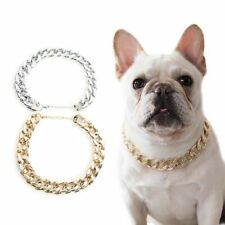 Small Dog Snake Chain Teddy Bulldog Necklace Silver Golden Pet Dogs Collar
