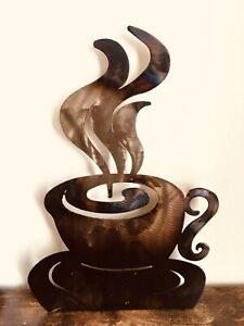 Metal Steamy Coffee Cup Tea Catering Sign Standalone Or Wall Hanging Burnt Look