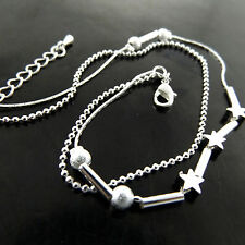 Anklet Genuine Real 925 Sterling Silver S/F Ladies Star Bead Link Charm Design