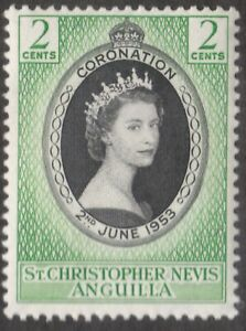 St. Christopher Nevis Anguilla  2 Cents Stamp Mint - Hinged - Coronation