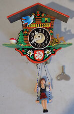 RARE VINTAGE MID CENTURY MINIATURE COO COO CLOCK WEST GERMANY GIRL ON SWING *NR*