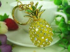 KC133 Pineapple Keyring Rhinestone Crystal Charm Pendant Key Bag Chain Gift