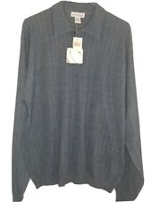 ANTHOLOGY Men's Large Collared Silk Long Sleeve Blue Pullover Front Shirt NWT