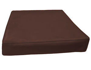 pe242t Root Beer Brown Faux Leather Classic 3D Box Cushion Cover Custom Size