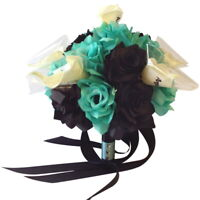 """9"""" Artificial Wedding Bouquet - Spa Aqua and Black Roses with White Calla Lily"""
