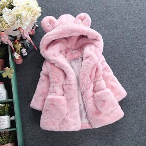 Top Quality baby girls super soft snug warm winter coat jacket faux fur 2-7 YRS