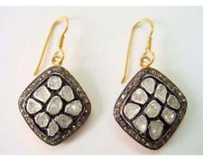 Victorian Rose cut Diamond Earring 925 Silver Polki Hook Earrings Women Jewelry
