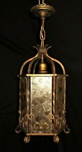 ANTIQUE WROUGHT IRON GOTHIC LAMP PENDANT w/ 6 MICA PANELS LIGHT FIXTURE 1920's