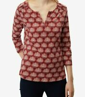 NEW EX WHITE STUFF UK SIZE 6 8 RED TERRACOTTA  PRINT BELLA JERSEY BLOUSE TOP