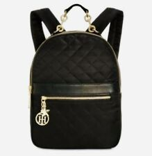 TOMMY HILFIGER ISABELLA CHARMED BLACK NYLON QUILTED BACKPACK