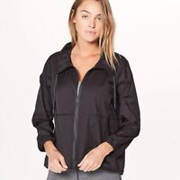 LULULEMON $118 Womens Translu Anorak Jacket Packable Water Repellant Black Sz 6