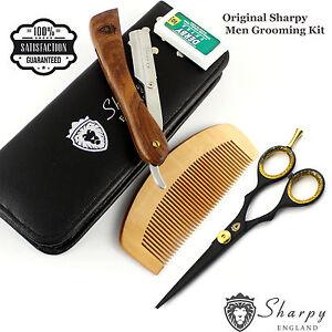 Men's 5 Piece Pro Grooming Kit Inc Straight Cutt throat Razor, Scissors, Comb