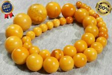 ANTIQUE BALTIC NATURAL RARE ROUND BEADS AMBER HIGH CLASS NECKLACE 123 GRAMS