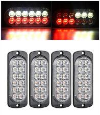 4pcs 12LED Light Flash Emergency Car Vehicle Warning Strobe Flashing Red/White