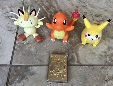 Pokeman Talking Vintage Figures Pikachu Meowth Charmander Gold Jigglypuff Card