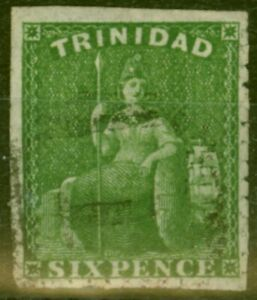 Trinidad 1859 6d Yellow-Green SG35 Pin-Perf 12.5 Fine Used (2)