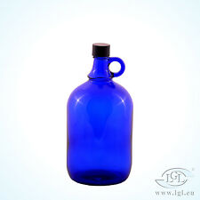 2 Litros Globo de cristal Botella azul Agua Vino Almacenaje Ficha de henk once