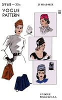 """Vogue #5968 TURBAN Hat Bag Purse Fabric Sewing Pattern Chemo Cancer Alopecia 23"""""""