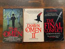 THE OMEN TRILOGY set of 3 rare 70s horror paperbacks novelisations occult horror