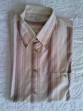 Chemise à rayures orangé/marron/écru