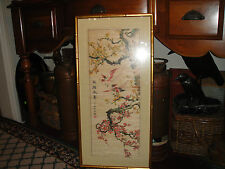 Vintage Japanese Or Chinese Painted Art-Birds Of Paradise In Trees-Signed/Stamp