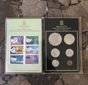 British Virgin Islands 1985 Proof 6 Coin Set With Matching Stamp's
