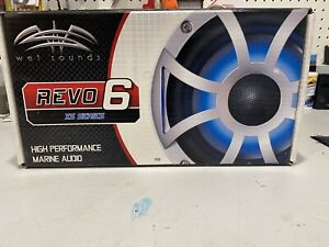 """Wet Sounds,PAIR - NIB-REVO 6-XSS Silver Open XS Grille 6.5"""" Marine LED Speakers"""