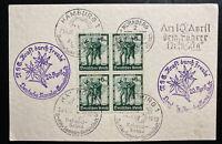 1938 Nuremberg Germany Postcard Cover German Festival Stamp Block