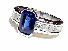 Platinum Sapphire & Diamond Ring Size 7.25 Fine Estate Jewelry