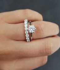Bridal Ring Set in 14K W.Gold Certified 7 Mm Round Moissanite Promise Engagement