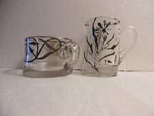 Vintage Art Deco Clear Glass Sugar And Creamer Silver Overlay Flower Design