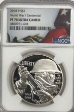 2018 P $1 World War I US Navy Silver Medal Proof PF70 NGC Kenneth Bressett