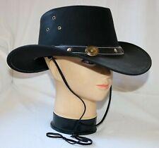 Lederhut Cowboyhut schwarz XS S M L XL 2XL Rindsleder Australien-Style+Kinnband