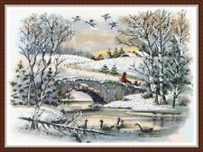 "'SNOWY BRIDGE' Cross Stitch PATTERN 18""x13"" Christmas/Xmas/Landscape NEW"