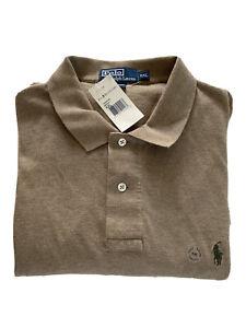 NWT Polo Ralph Lauren Oatmeal Tan Men's Size XXL Long Sleeve Polo Shirt