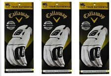 3 Pack Ladies Callaway Tour Authentic Leather ML RH Gloves (LH Golfer) Womens