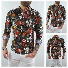 Camicia uomo di lino sartoriale casual Hawaiana floreale Fiori Slim S M L XL XXL