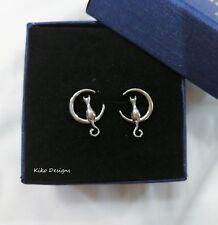 CAT ON THE MOON Sterling Silver Earrings, 925 Sterling Silver, Stud Earrings