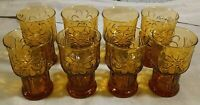 """Set of 8 Libbey Glass Country Garden Amber 4"""" Juice Tumblers Glasses Daisies EUC"""
