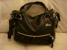 NEW BLACK LEOPARD CHEETAH PURSE GOLD HARDWARE SPARKLE EXTRA LARGE PURSE LEATHER